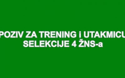 Poziv na trening i utakmicu igrača za 4 ŽNS-a